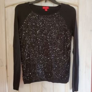 Elle Black Sequin Holiday Sweater sz S